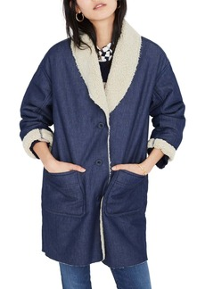 Madewell Fleece Trim Denim Cocoon Coat