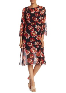 Madewell Floral Long Sleeve Midi Dress