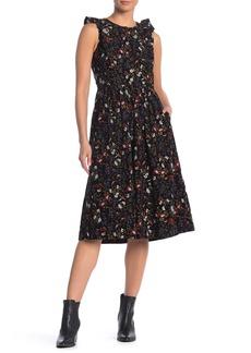 Madewell Floral Print Corduroy Ruffle Dress