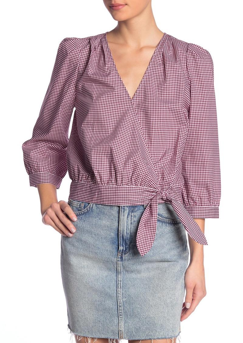 Madewell Gingham 3/4 Length Sleeve Wrap Top