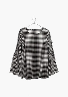 Madewell Gingham Lace-Up Bell-Sleeve Top