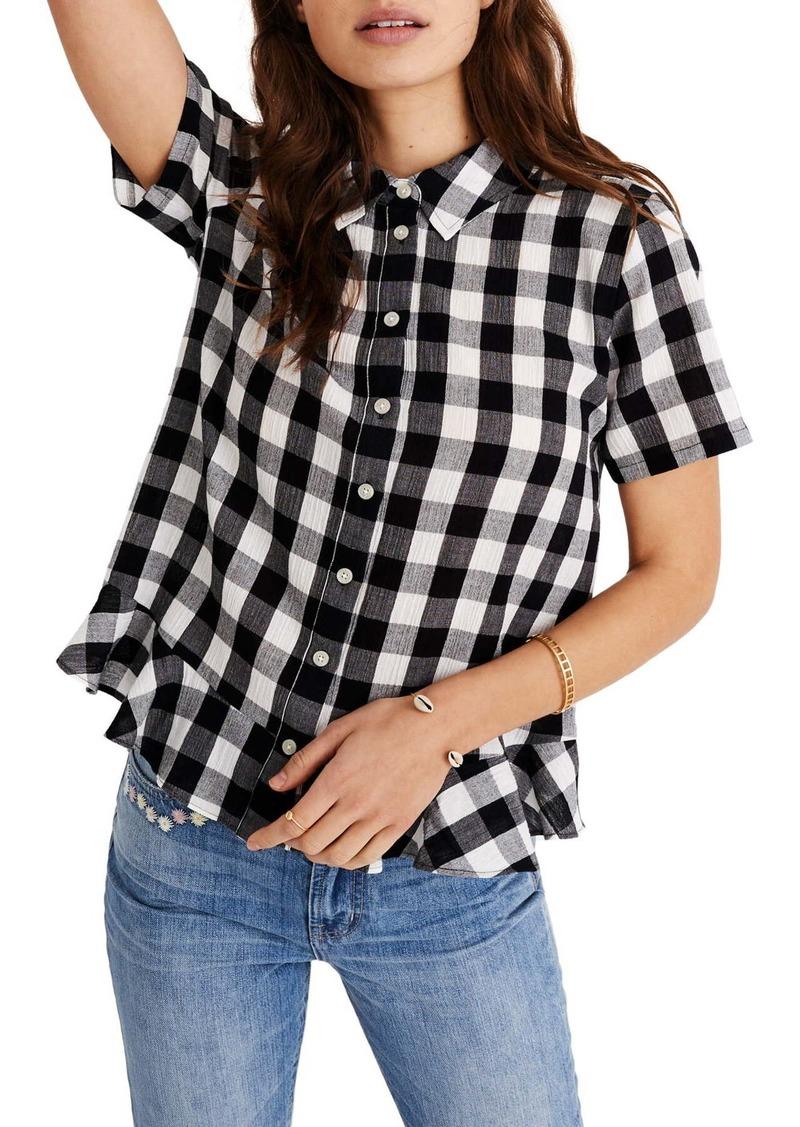 Madewell Gingham Peplum Button Down Shirt