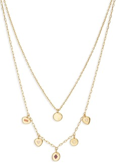 Madewell Glass Inlay CZ Accent Layered Charm Necklace Set