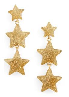 Madewell Glitter Resin Triple Star Drop Earrings