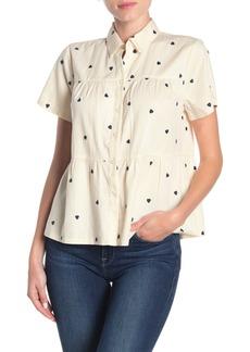 Madewell Heart Embroidered Button Front Peplum Shirt