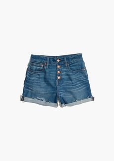 High-Rise Denim Boyshorts: Button-Through Edition