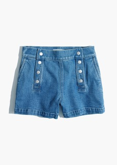 High-Rise Denim Boyshorts: Sailor Edition