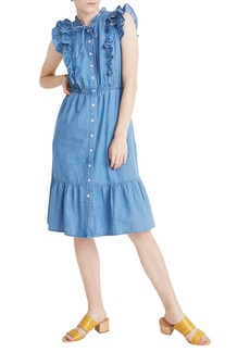 Madewell Indigo Ruffle Tie Neck Denim Dress