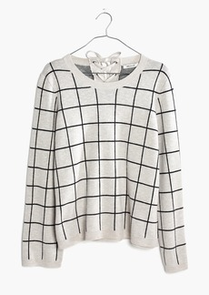 Madewell Laced-Back Pullover Sweater in Windowpane Jacquard