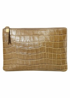 Madewell Leather Pouch Clutch in Croco