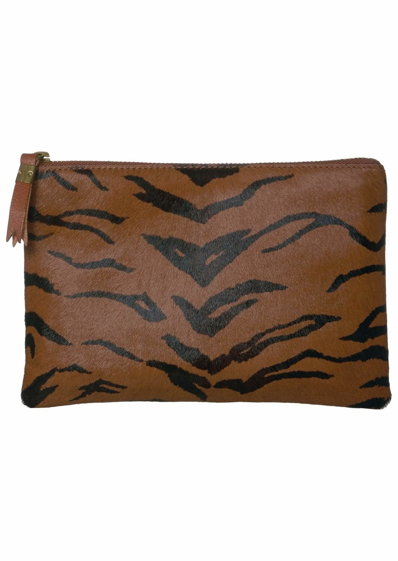 Madewell Leather Pouch Clutch in Printed Haircalf