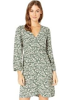 Madewell V-Neck Button-Front Mini Dress in Forest Leaves