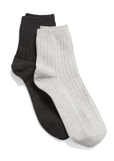 Madewell 2-Pack Ribbed Heather Ankle Socks