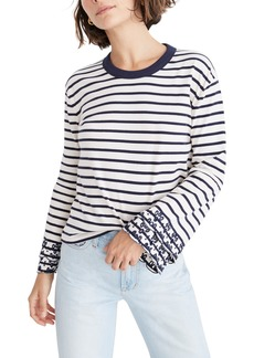 Madewell Baker Stripe Eyelet Embroidered Tier Sleeve Tee