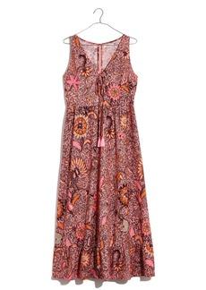 Madewell Bali Blooms Lace-Up Ruffle Hem Midi Dress