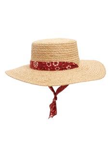 Madewell Bandana Trim Straw Hat