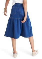 Madewell Bayview Tiered Denim Midi Skirt