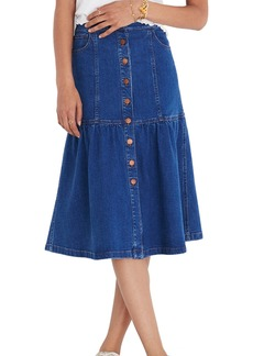 Madewell Bayview Tiered Denim Midi Skirt