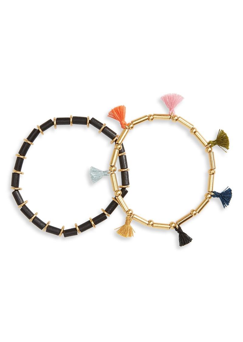 Madewell Bead & Tassel Set of 2 Bracelets