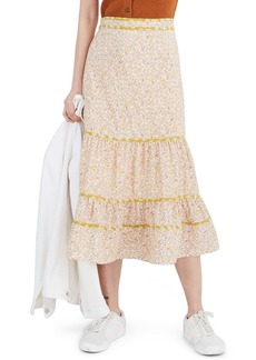 Madewell Blossoming Vines Mix Print Tiered Midi Skirt