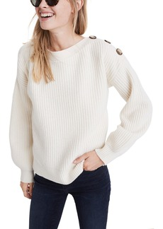 Madewell Boat Neck Button Shoulder Sweater