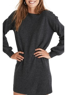 Madewell Boat Neck Button Shoulder Sweater Dress