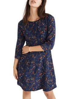 Madewell Boat Neck Pintuck Silk Dress