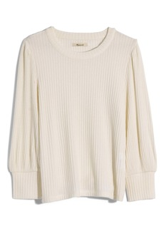 Madewell Brushed Rib Pleat Sleeve Top
