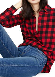 Madewell Buffalo Check Flannel Popover Shirt