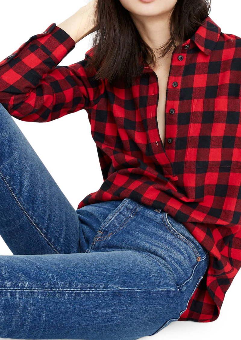 Madewell Buffalo Check Flannel Popover Shirt