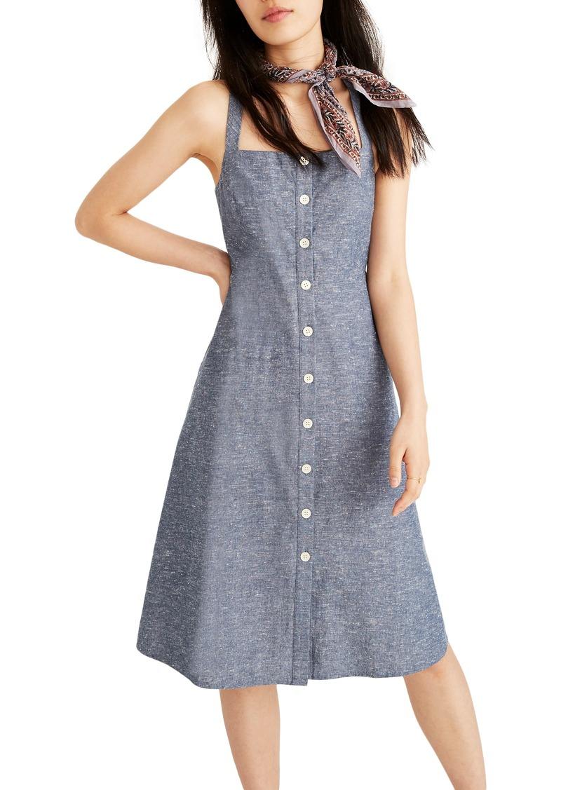 Madewell Button Front Chambray Tank Dress