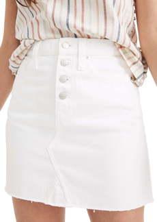 Madewell Button Front Denim A-Line Miniskirt