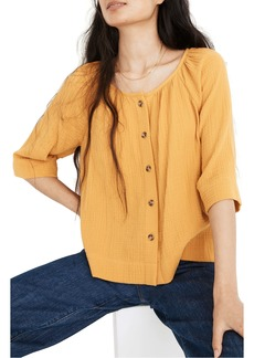 Madewell Button Front Gauze Raglan Top