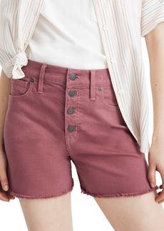 Madewell Button Front High Waist Garment Dyed Shorts
