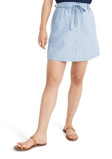 Madewell Button Front Tie Chambray Miniskirt