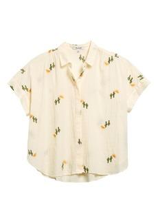 Madewell Cactus Embroidered Hilltop Swiss Dot Shirt
