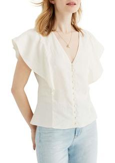Madewell Carmelina Flutter Sleeve Linen Top