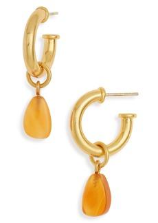 Madewell Carnelian Charm Chunky Small Hoop Earrings
