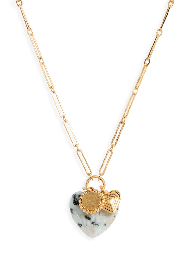Madewell Carved Heart Charm Cluster Necklace