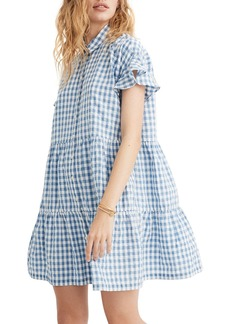 Madewell Central Gingham Ruffle Hem Shirtdress