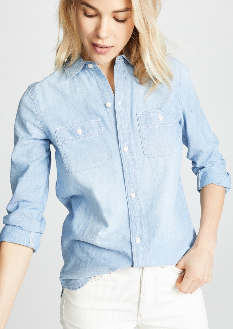 c78d65284b8 Madewell Madewell Chambray Classic Ex BF Button Down Shirt