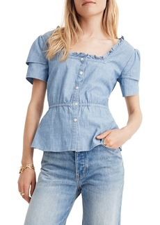 Madewell Chambray Ruffle Sleeve Peplum Top