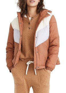 Madewell Chevron Colorblock Packable Puffer Jacket