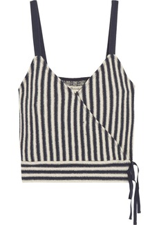 Madewell Chloe striped cotton-blend wrap top