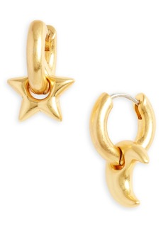 Madewell Chunky Star and Moon Huggie Hoop Earrings
