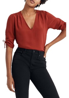 Madewell Cinch Sleeve Silk Top