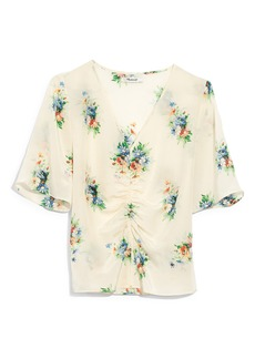 Madewell Classic Corsage Shirred Front Silk Peasant Top