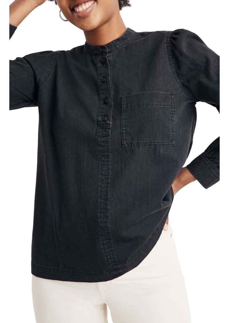 Madewell Collarless Denim Popover Shirt