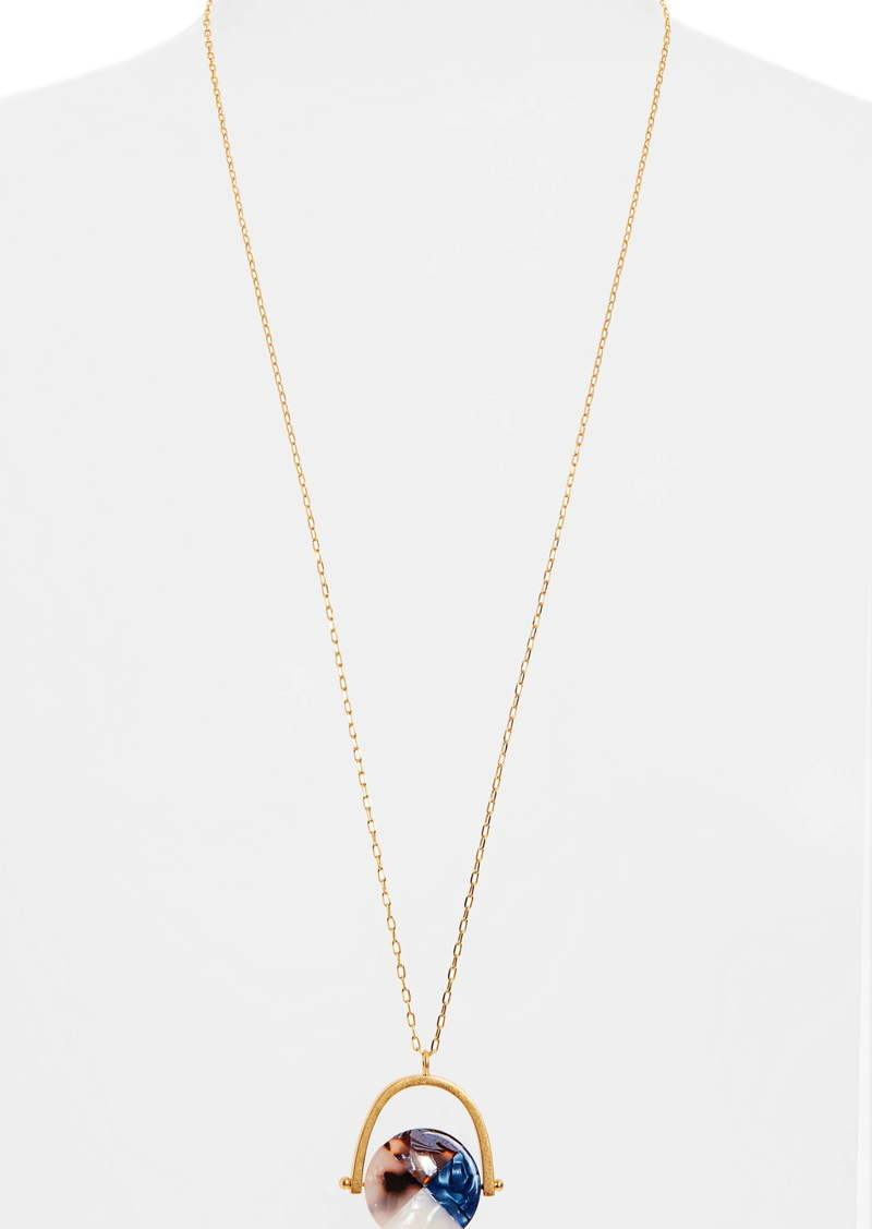 Madewell Colorblock Acetate Spinning Disc Necklace