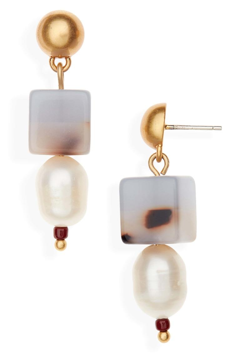 Madewell Colorblock Bead Pearl Earrings